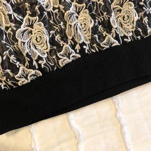 bobeau Tops - Sheer black and white bomber pullover